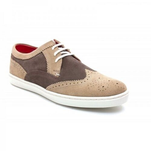 Base London 'Anglo' Brogue Men's Taupe/Brown Suede Semi Brogue 'Anglo' Wingtip Derby Shoes a25990