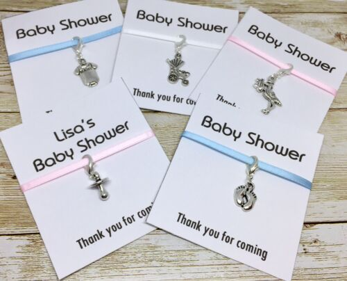 5 x Baby shower clip on charms gift keyring pink blue white-baby feet pram dummy