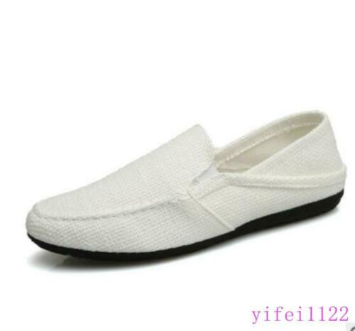 Mens Canvas Casual Low Top Shoes Slip On Loafers Driving Summer Shoes Breathable