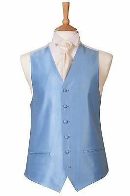 Azzurro Nuovo Di Zecca Abito Da Sposa Smoking Da Sera Palla Crociera Gilet Vest (b36)-mostra Il Titolo Originale Forma Elegante