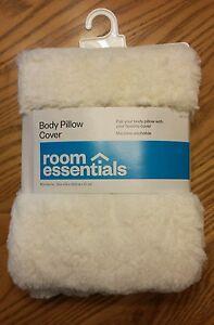 White Faux Fur Body Pillow Case Cover Super Soft