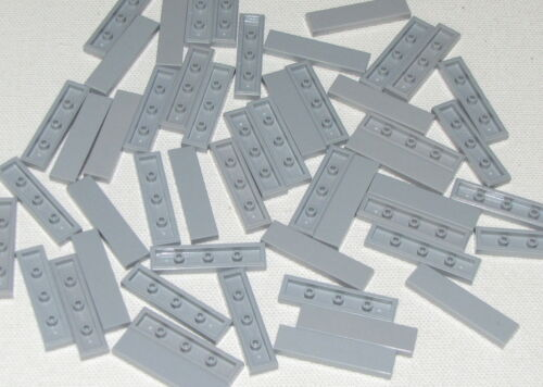 LEGO LOT OF 50 NEW 1 X 4 LIGHT BLUISH GREY TILES FLAT SMOOTH PIECES PARTS