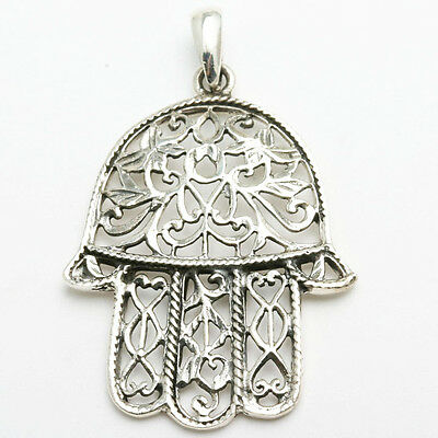 NEW 925 Sterling Silver Hamsa Hand filigree pendant Judaica LARGE oxidized