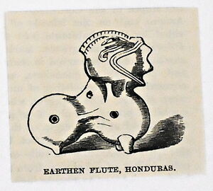 small 1883 magazine engraving ~ EARTHEN FLUTE, HONDURAS