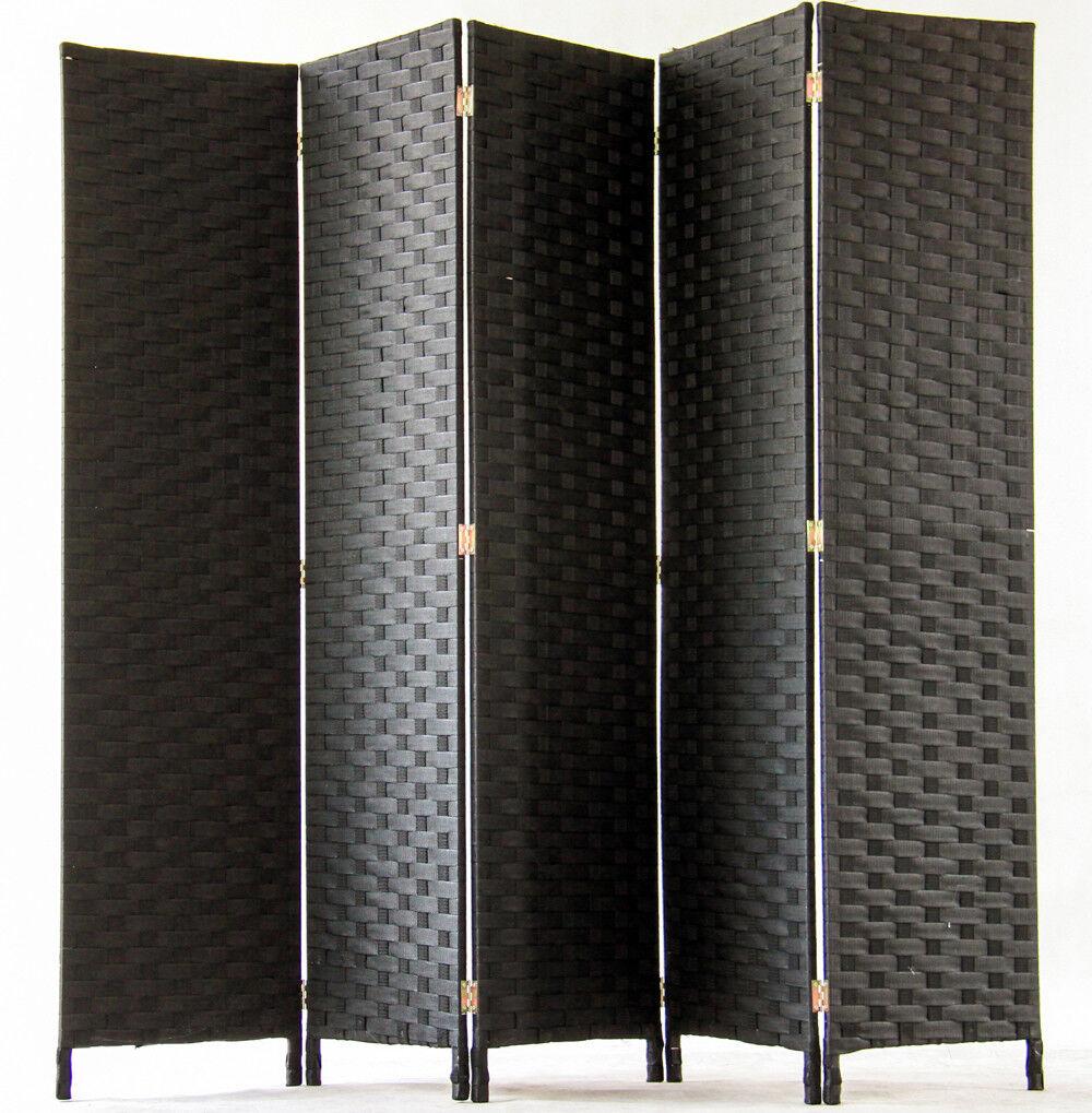 Paravent de 5 pans tressé en fibres naturelles noir - Dim   H180 x L225 cm