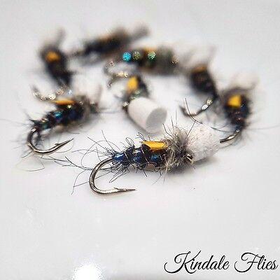 Fly Fishing Flies CDC Black Flexi Suspender Buzzers Size 14 Set of 3