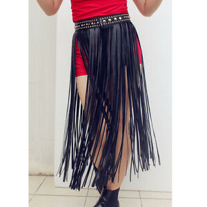 Boho Faux Leather Gold Rivet Long Fringe Tassel Skirt Belt Bikini ...