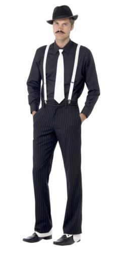 Hommes 20 S GANGSTER Accessoires Noir Blanc Mafia Déguisement Bretelles Cravate Chapeau Guêtres