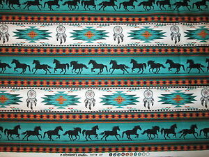 Navajo-Native-American-Totem-Horse-Border-Teal-Blk-Cotton-Fabric-14-1-2-Inch-Cut