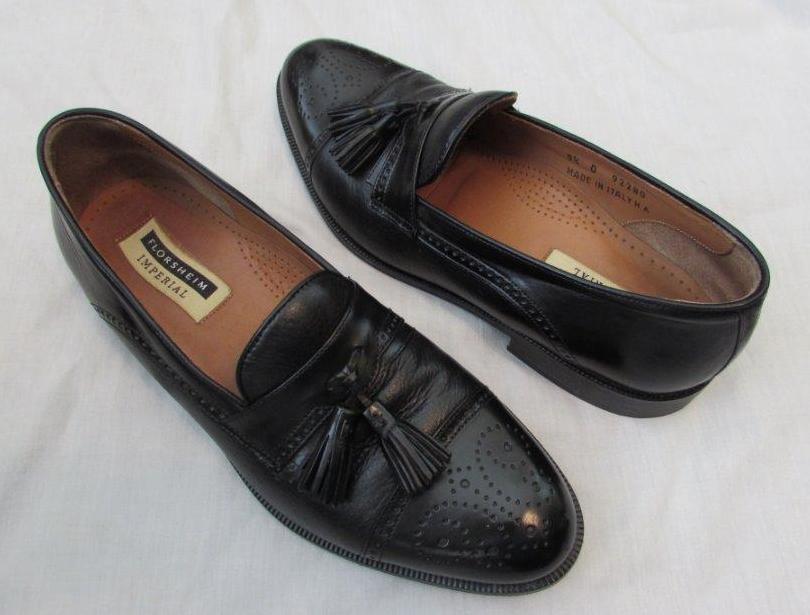 FLORSHEIM mens 9.5 D black tassel wingtip loafers shoes Imperial
