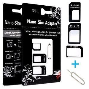 Adattatore Convertitore Slim 4 In 1 Per Nano Micro Sim Smartphone Tablet + Pin