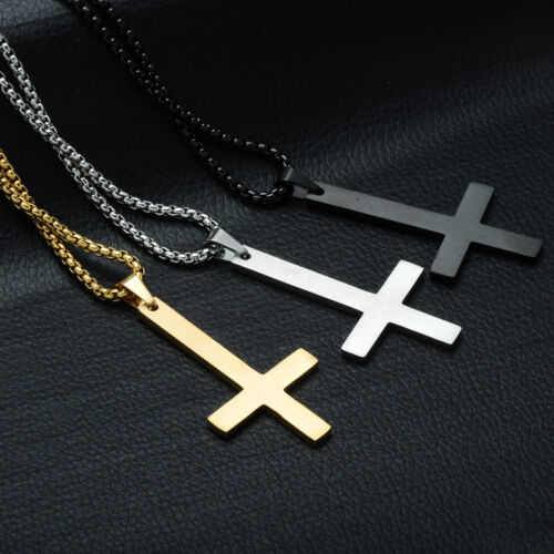 Stainless Steel Inverted Cross Pendant Necklace for Men Upside Down Cross Jewel