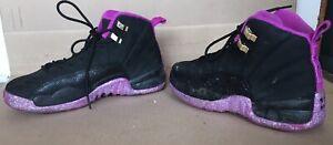 sale retailer 2283c 82f8e Details about Nike Air Jordan Retro 12 510815-018 Size 6.5 Y Black Purple  Sparkly CUSTOM READ