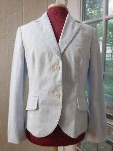 Brooks Brothers White Blue Seersucker Blazer Jacket Women 8p Nwt