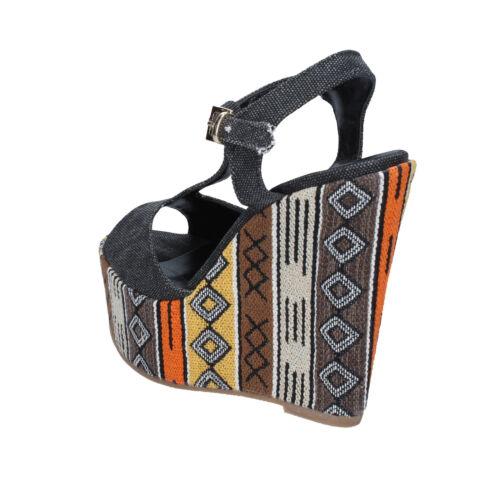 Geneve Sandali 38 Scarpe Shoes Nero Tessuto Bz891 D Donna V7pq0zfn rxBCodQeW