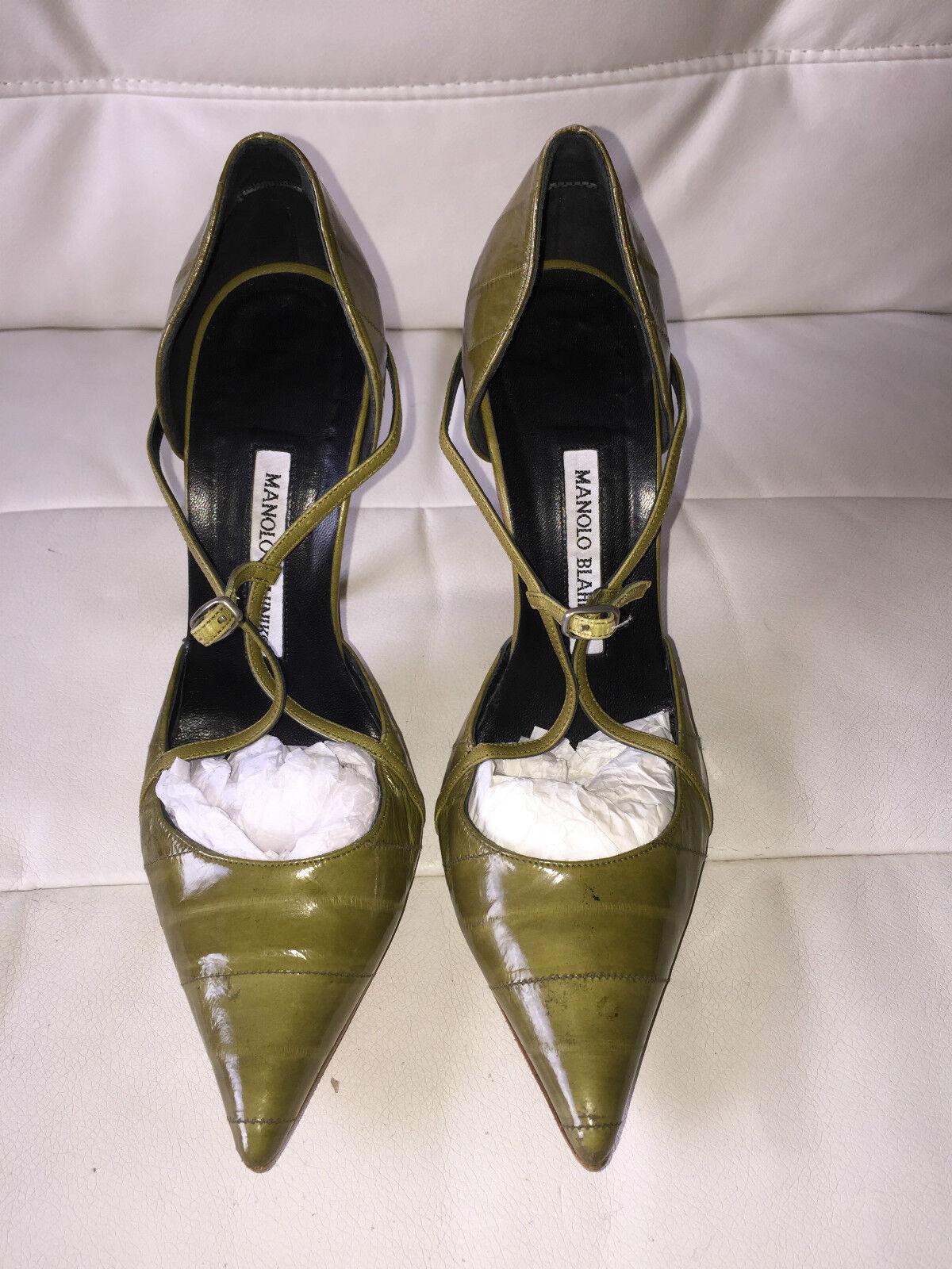 600 Manolo Blahnik Blahnik Blahnik Green Leather Pump Dorsay shoes 37 4feccd