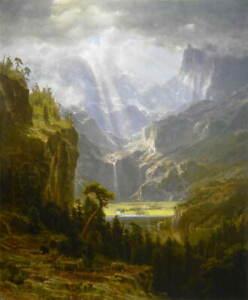 Albert-Bierstadt-Lander-039-s-Peak-Poster-Reproduction-Paintings-Giclee-Canvas-Print