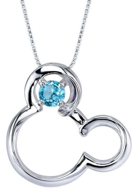 18 Disney Silver Synthetic Blue Topaz December Birthstone Mickey