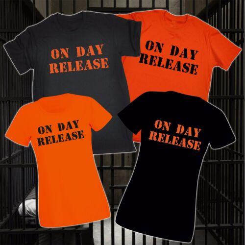 ON DAY RELEASE T-SHIRT prison prisoner parole jail fancy dress funny birthday