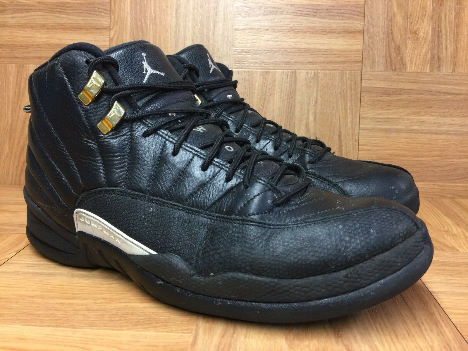 RARE  Nike Air Jordan 12 XII Retro The Master Black Leather Sz 10.5 130690-013
