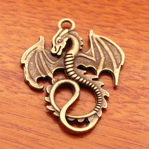 20pcs Charms Dragon Pendant Tibetan Silver Jewelry Bracelet 35*28mm H029