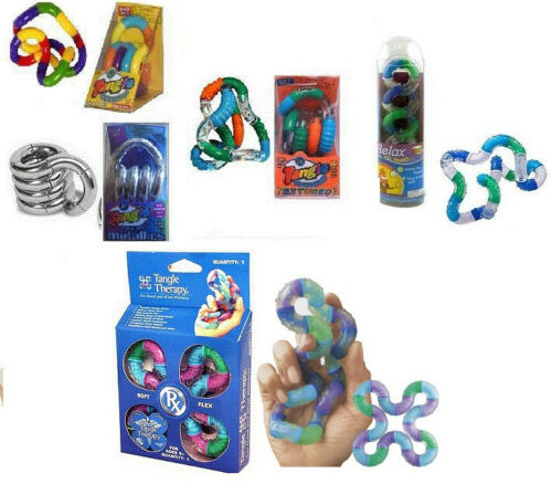 5 TANGLE Fidget Sensory Toy ADHD AUTISM Textured Metallic Set Therapy Asperger