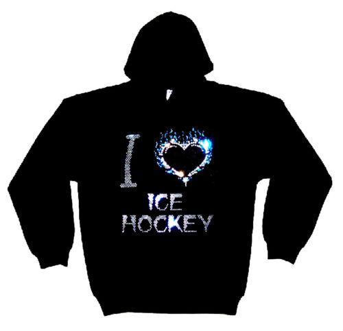 Sweat capuche les en à cristal Hockeytoutes tailles avec cristal I épais en motif Love XZuwOkiPT