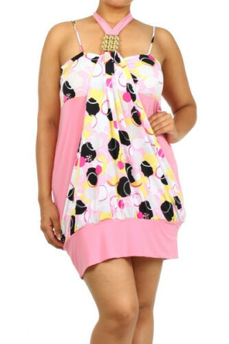 Jr/'s Plus Size 1X,2X,3X Pink /& White Gold Accent Halter Top Mini Dress !