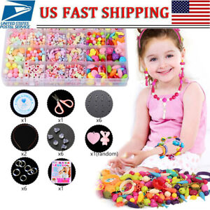 Girls-Kids-DIY-Bracelet-Arts-Craft-Make-Own-Beads-Jewellery-Making-Set-Box-Kits