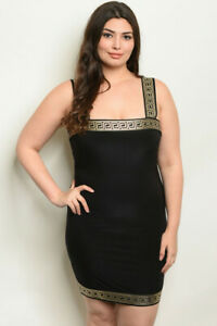 Womens-Plus-Size-Black-and-Gold-Bodycon-Dress-3XL-New-Grecian-Inspired-Stretch