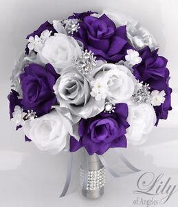 Package Silk Flower Wedding Bridal Bouquets Sets PURPLE SILVER WHITE