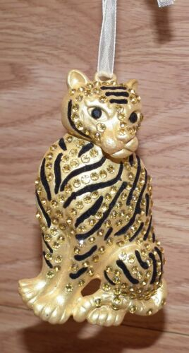 "3.75"" Inch Blingy Rhinestone Gold Tone Cheetah Christmas Hanging Ornament READ"