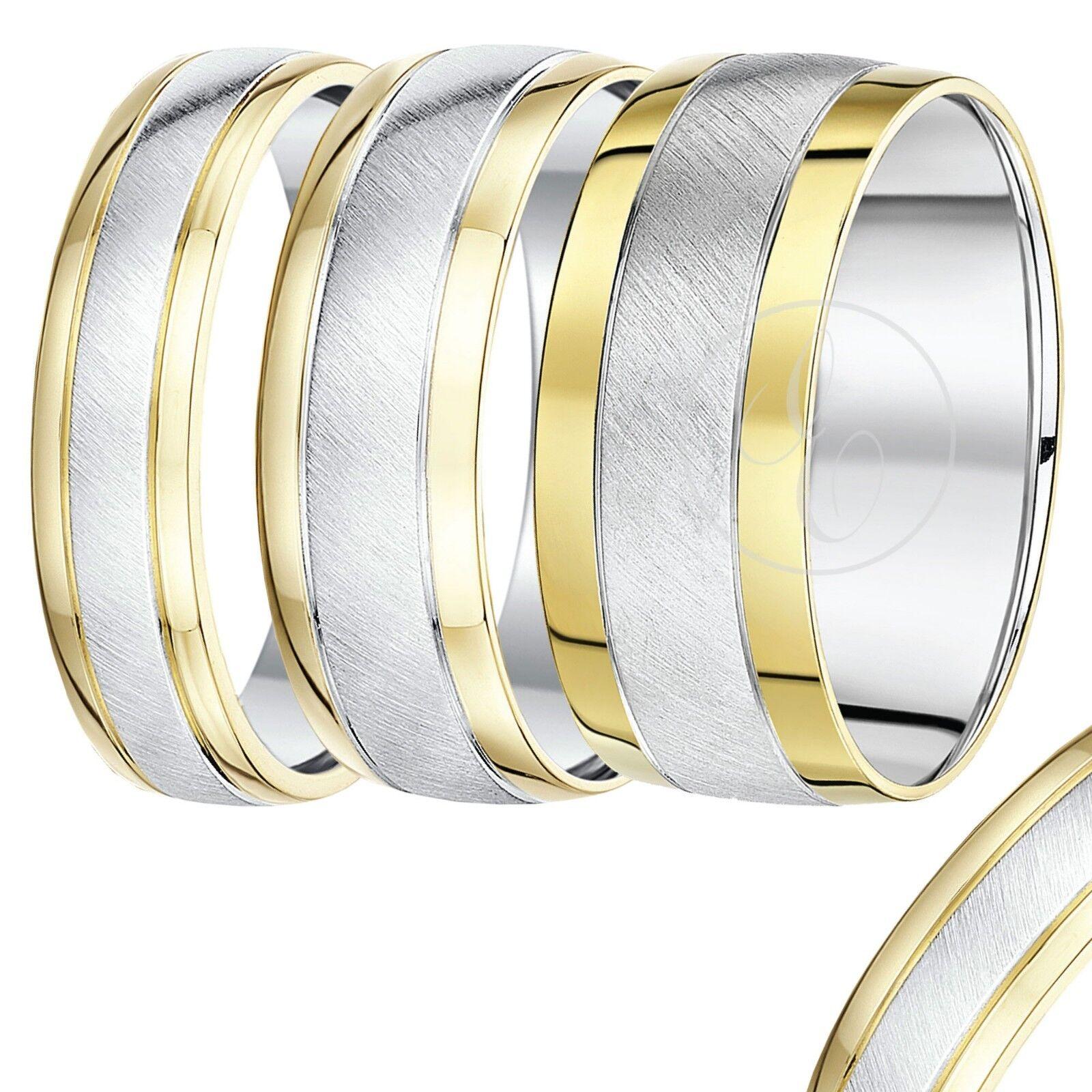 9 Karat yellow gold silver Zweifarbig Trauring 5mm,6mm,7mm,8mm