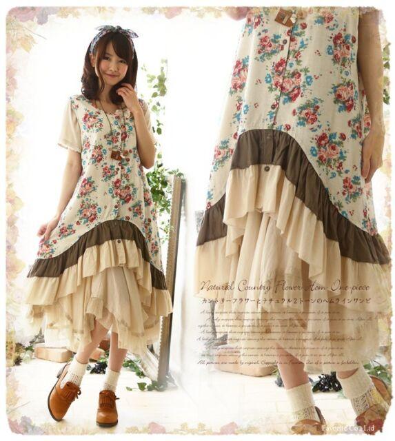 Korean women's V-neck Floral  Dress Sweet loose sleeveless dress Vintage
