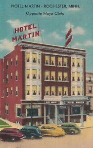 Vintage-1949-Linen-Postcard-Hotel-Marin-Rochester-Minn-Opposite-Mayo-Clinic