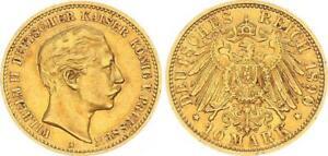 Preußen 10 Reichsmark 1890 a Kaiser Wilhelm II - Gold ss-vz 64127