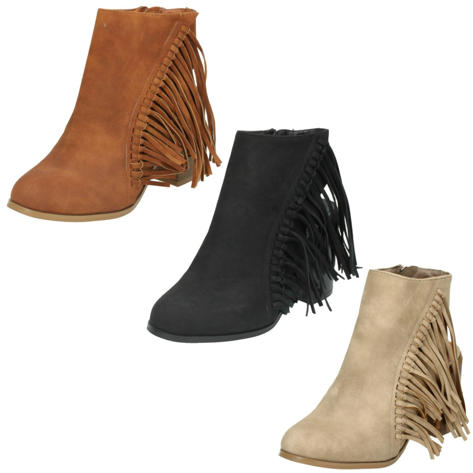 Spot On Beige Or Tan Zip Up Fringed Ankle Boots F50489 Black