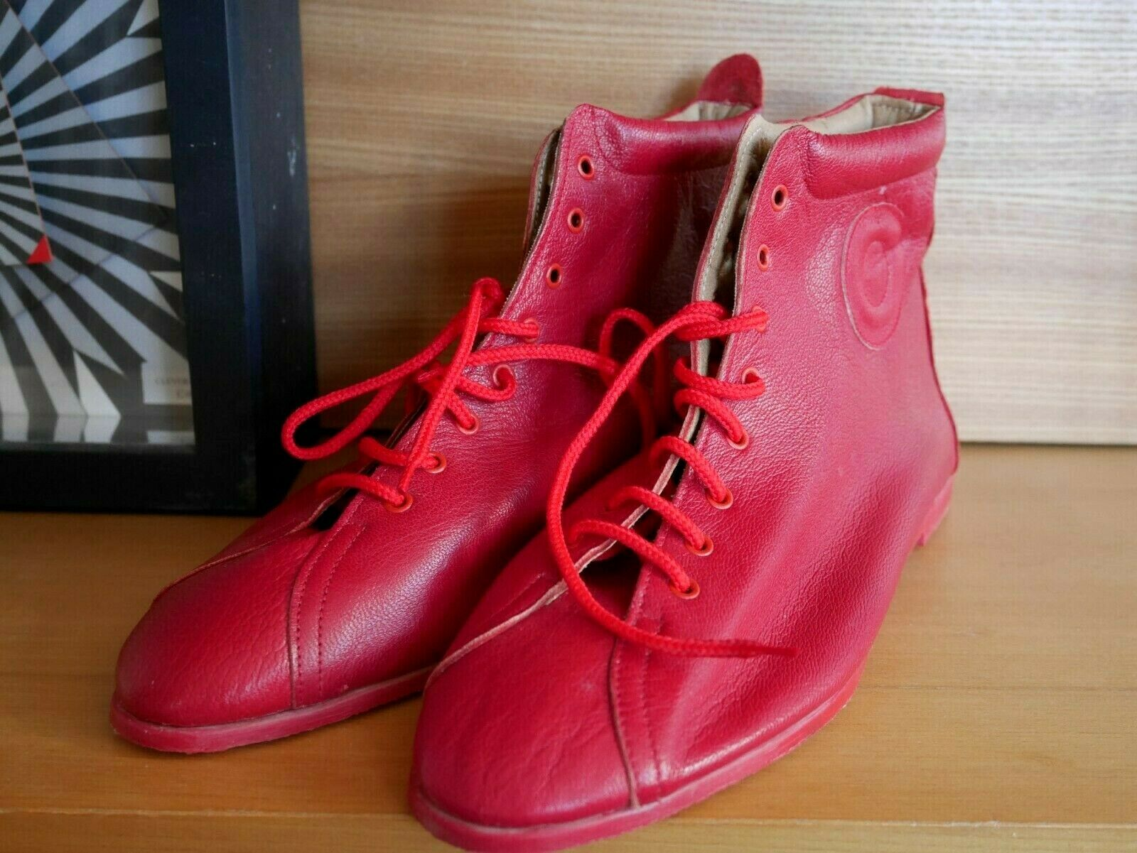 Mowgli 38 Boots Red Lace Up shoes Sneaker 80er Leather True Vintage Lace Up shoes