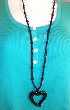 "Chico's necklace 32 "" long black bead chunky chain with big heart charm dangle"