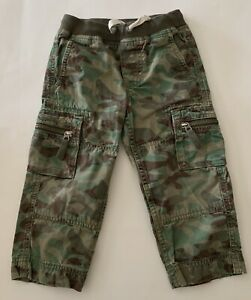 Hanna-Andersson-Boys-GREEN-Camo-Cargo-Pull-on-Pants-Size-90-3T