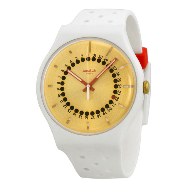 Swatch Generation 31 Gold Dial White Silicone Mens Watch SUOW400