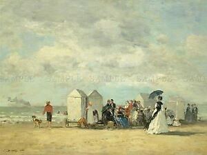 BOUDIN-FRENCH-BEACH-SCENE-OLD-ART-PAINTING-POSTER-PRINT-BB5289A