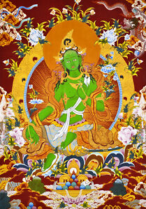"""17/"""" BLESSED NATURAL MINERAL SILKPRINT TIBET THANGKA BUDDHA GIVE YOU WELCOME!"""