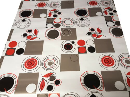 PVC Table Nappe Abstrait Rétro Rouge Noir Gris Argent Blanc Geo Cercle Essuyer Capable
