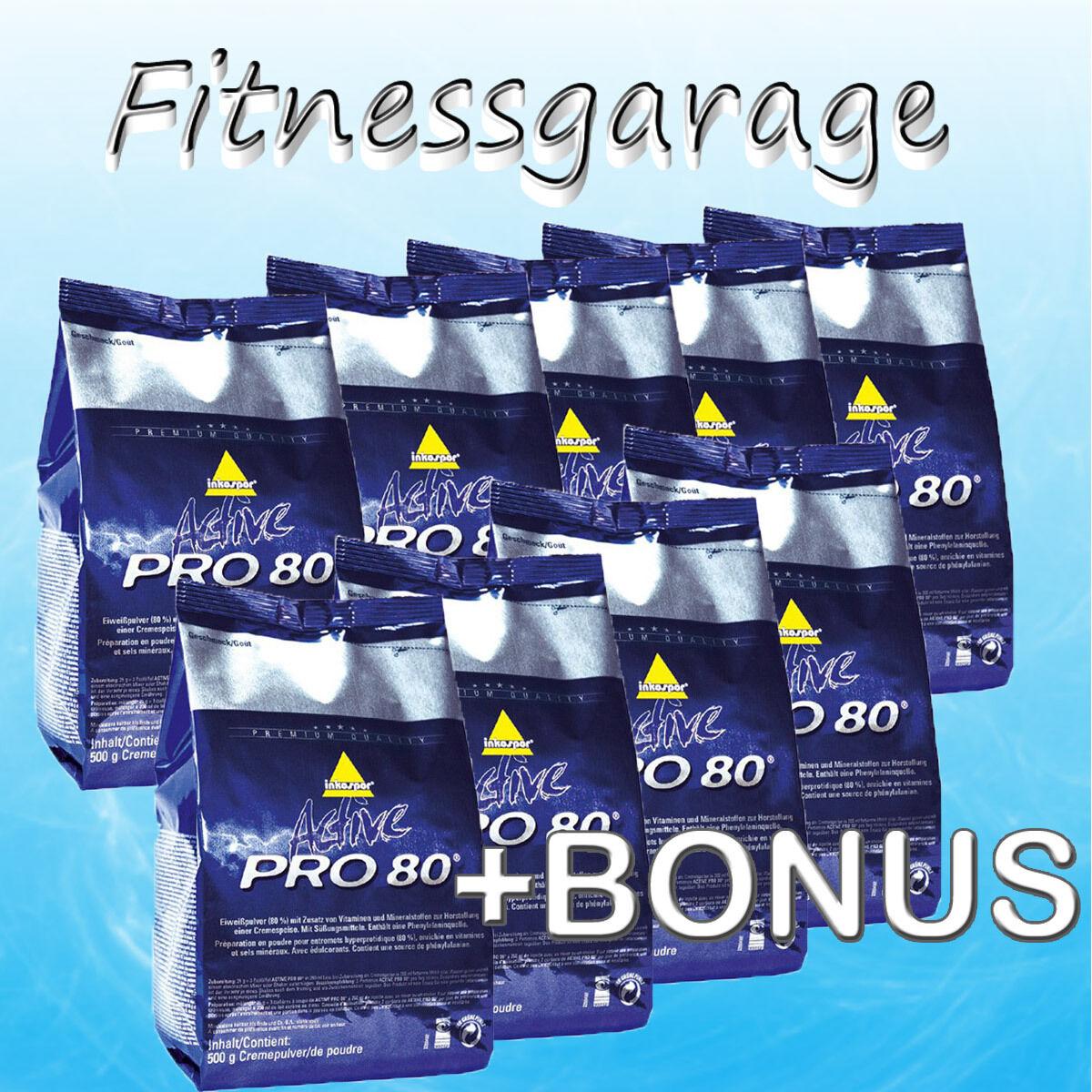 ( /kg) Inko Active Pro 80 Protein 9x 500g Inkospor Eiweiß +Shaker+10 Riegel