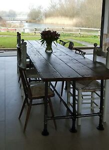 Reclaimed Dining Table Gas Pipe Large Scaffold Vintage Industrial Ebay
