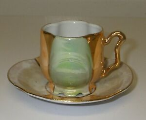 Antique Eleanor Germany Demitasse Mini Cup & Saucer Lustreware Footed Scalloped