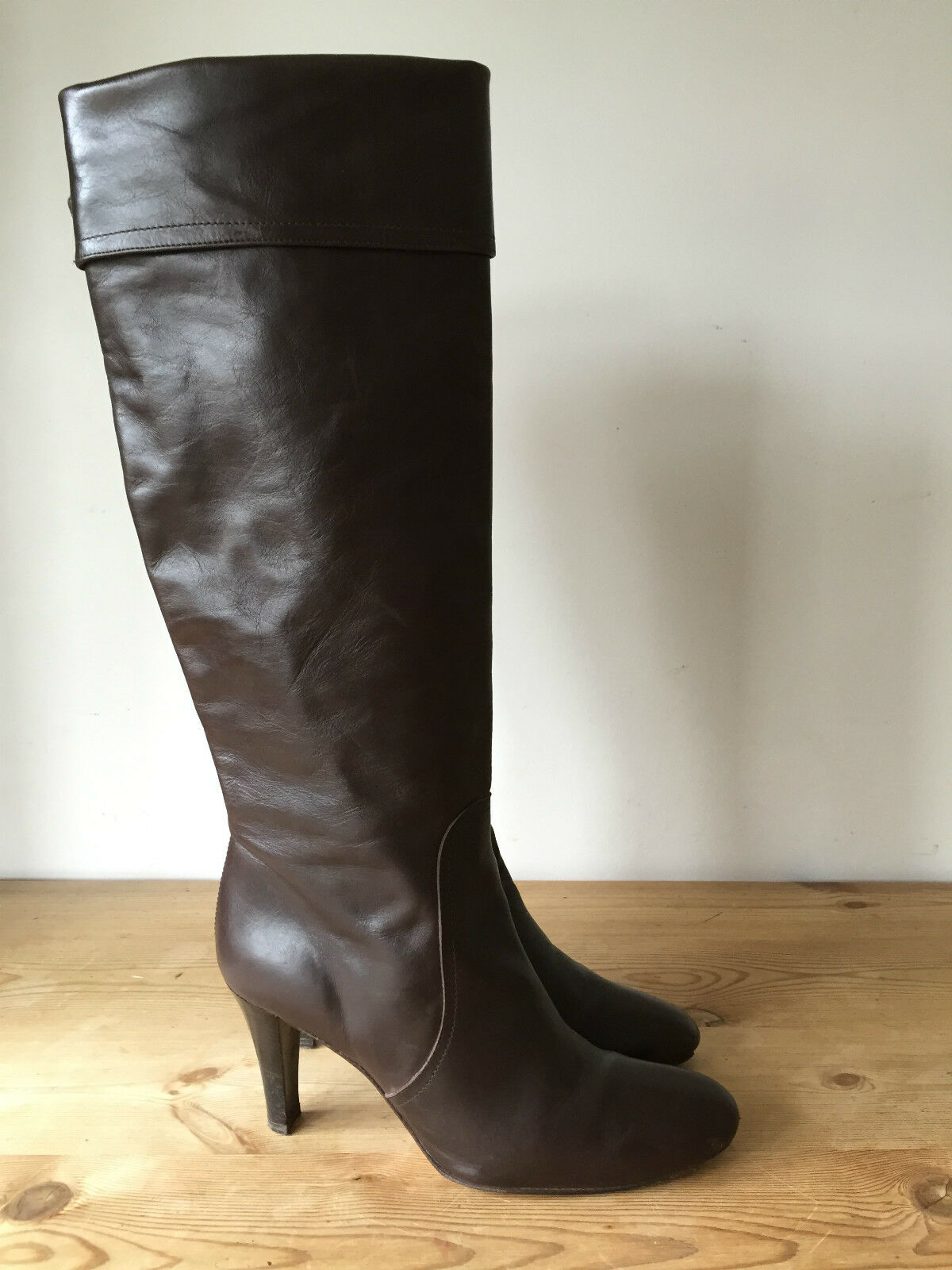 MASSIMO DUTTI LADIES BROWN LEATHER KNEE HIGH BOOTS UK7 EU40