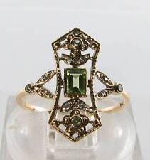 DIVINE LONG 9K 9CT GOLD VINTAGE INS PERIDOT & DIAMOND RING FREE RESIZE