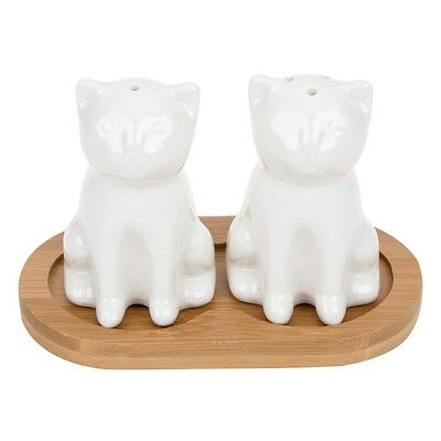 White Bamboo White Cat and Kitten Cruet Set